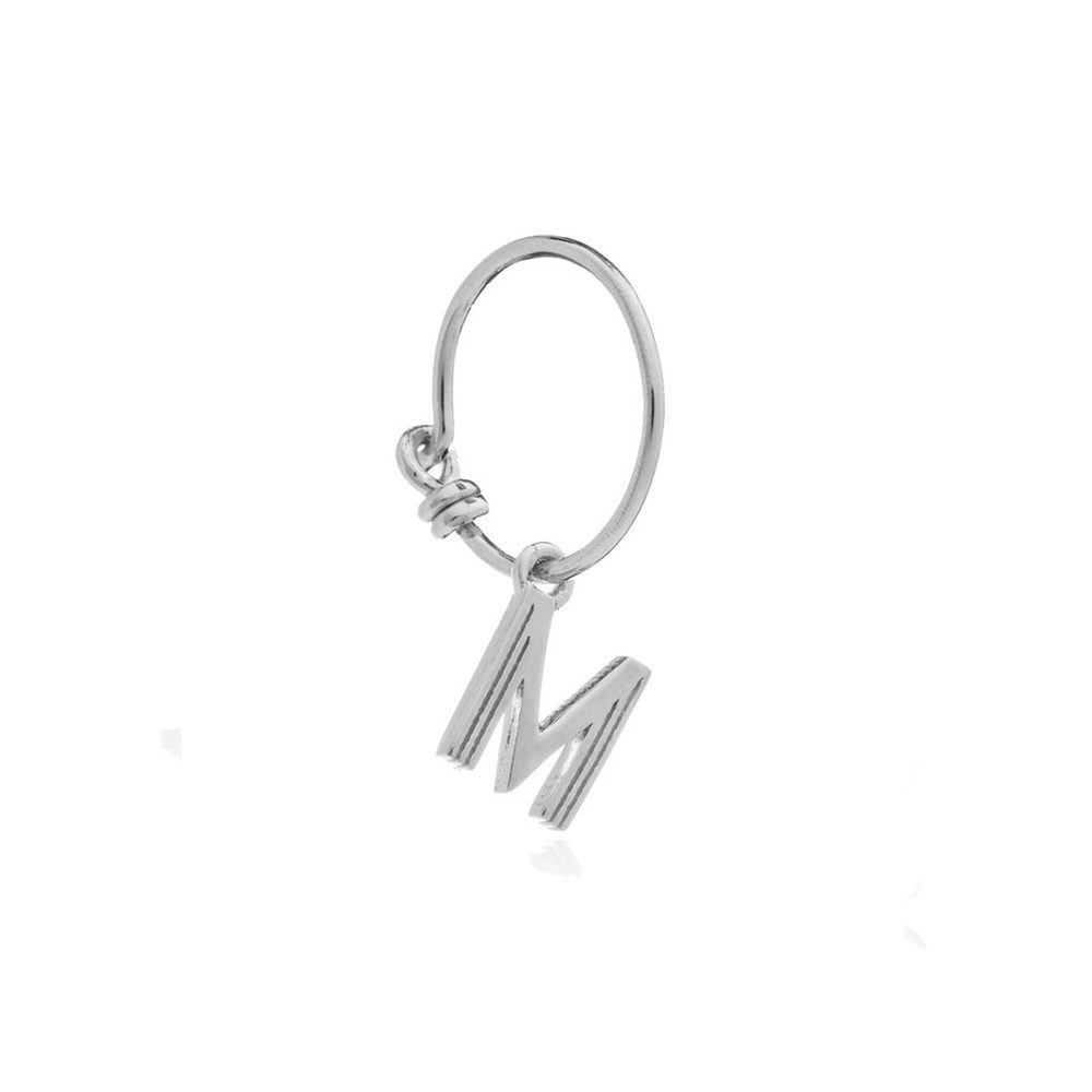 This is Me Silver Mini Hoop Earring - Letter M