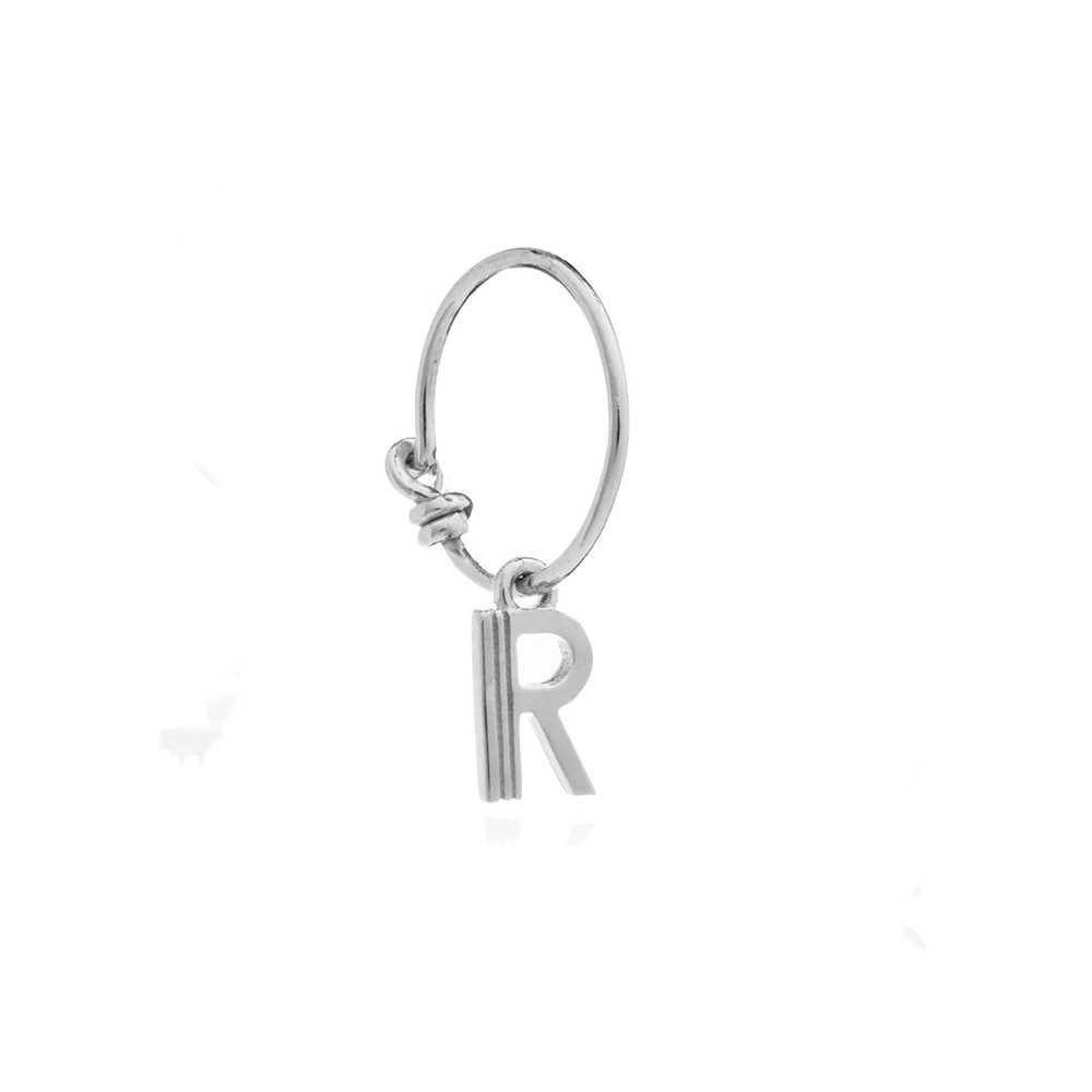 This is Me Silver Mini Hoop Earring - Letter R