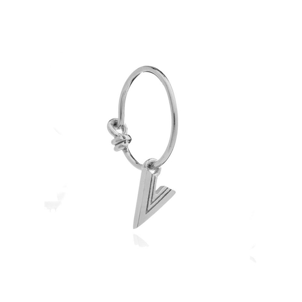 This is Me Silver Mini Hoop Earring - Letter V