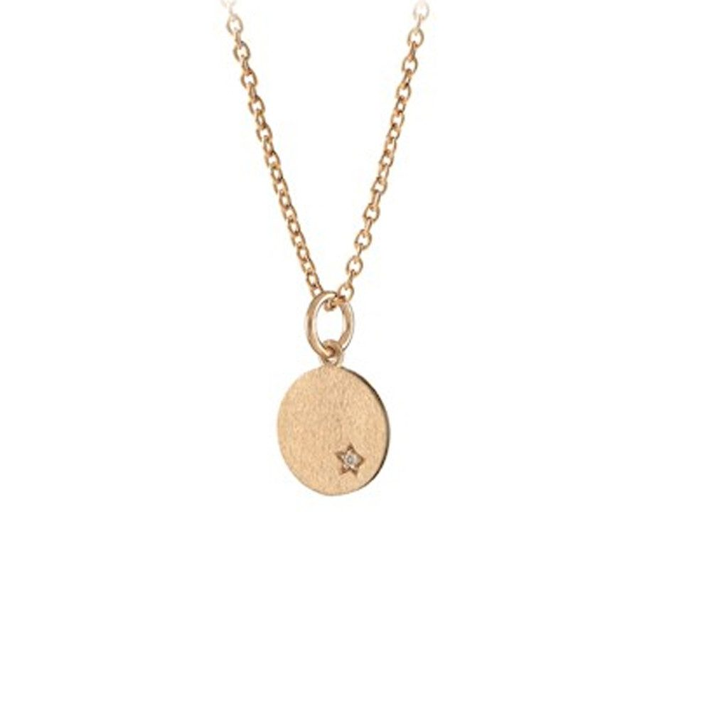 Diamond Coin Necklace - Gold