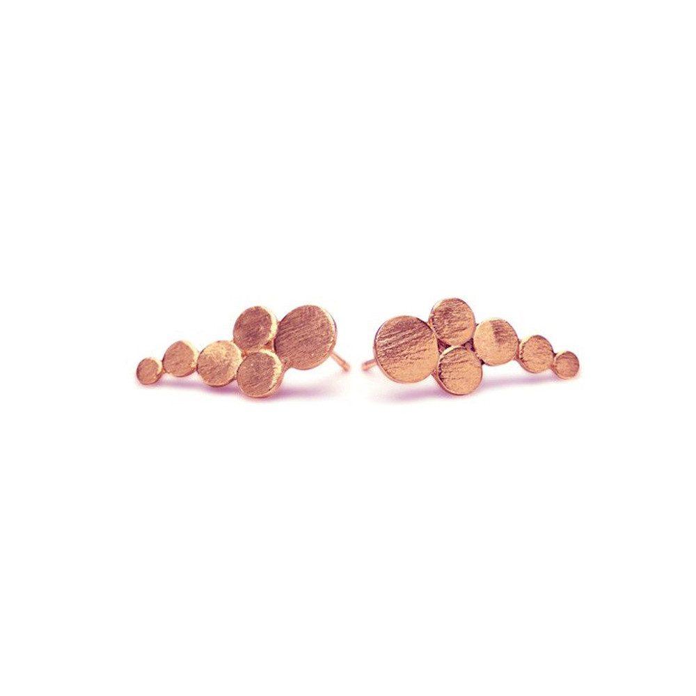 Multi Coin Stick Earrings - Rosegold