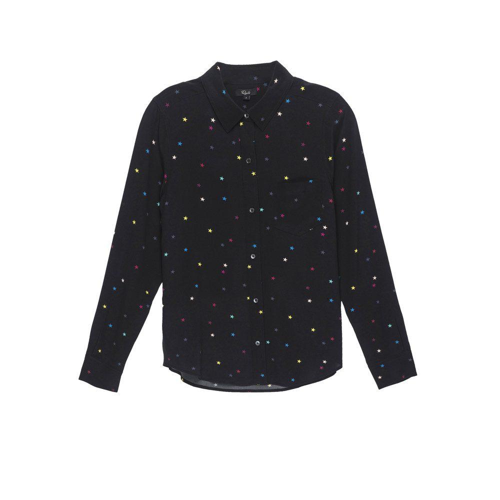 Kate Silk Shirt - Rainbow Stars on Black