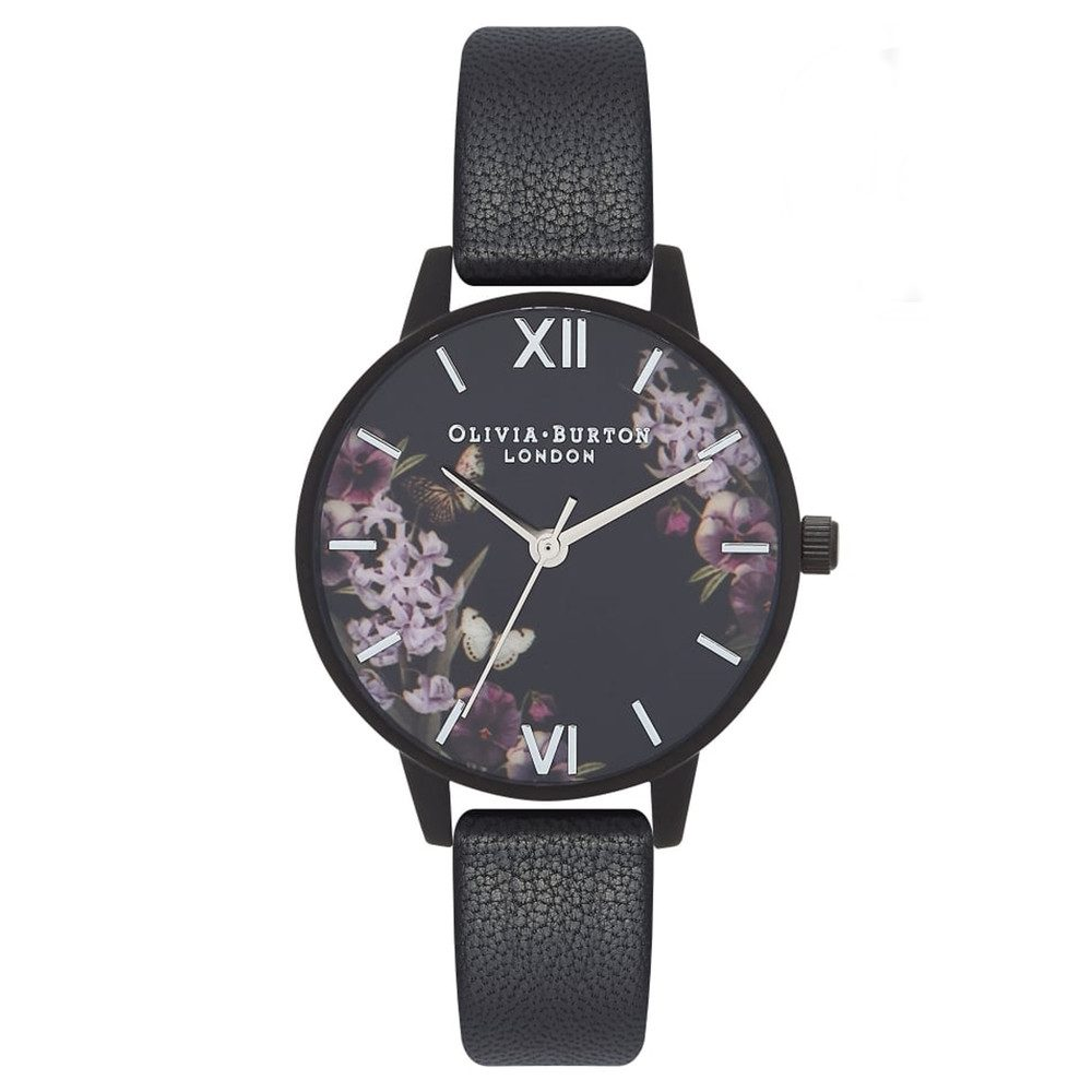 After Dark Floral Matte Black Watch - Black & Silver