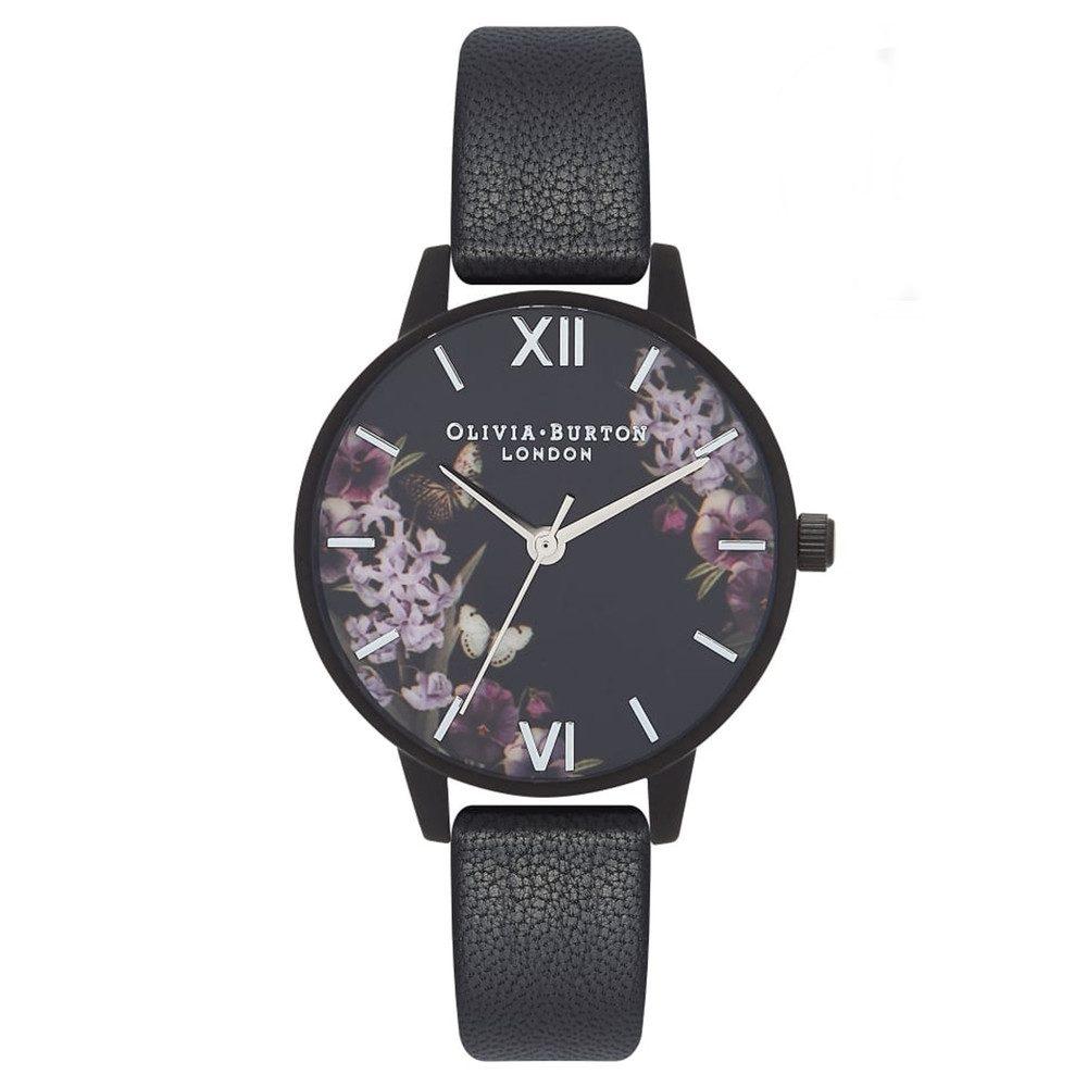 After Dark Floral Matte Black Watch - Black & Silver