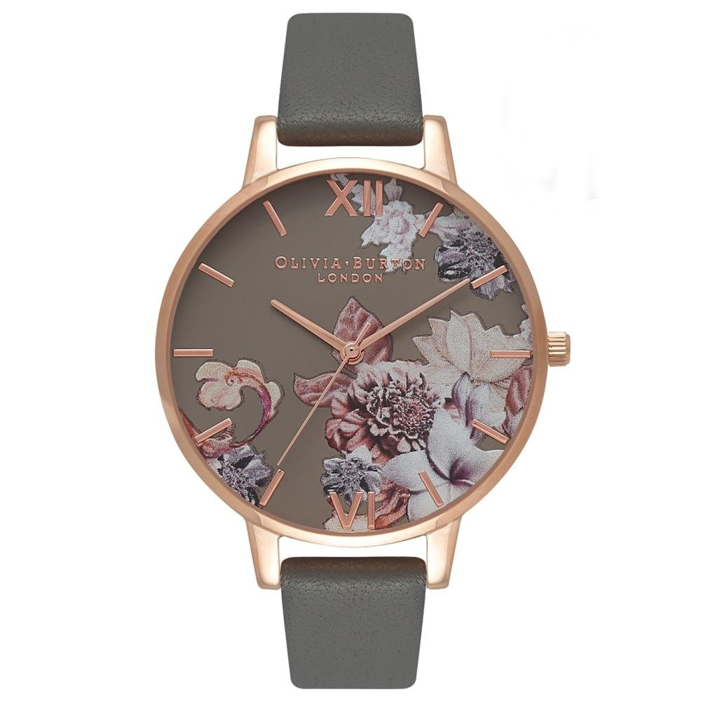 Marble Floral Watch - Dark Grey & Rose Gold