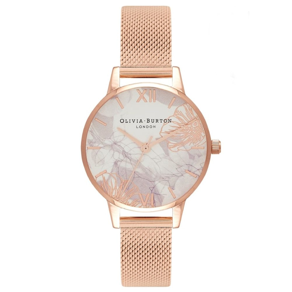 Abstract Florals Mesh Watch - Rose Gold