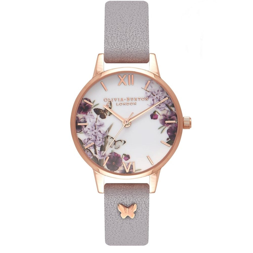 Enchanted Garden 3D Embellished Strap Watch - Grey Lilac & Rose Gold