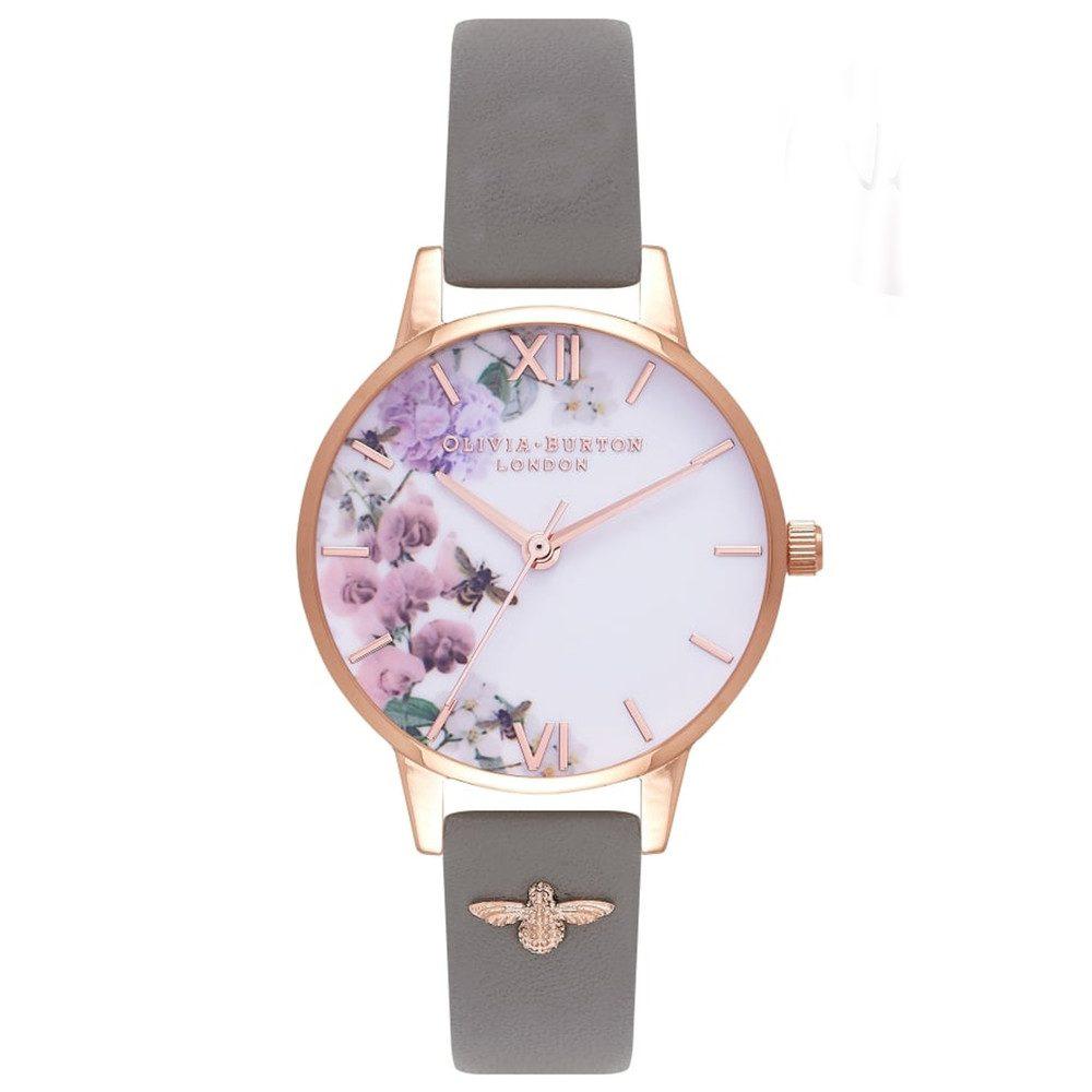 Enchanted Garden 3D Embellished Strap Watch - London Grey & Rose Gold