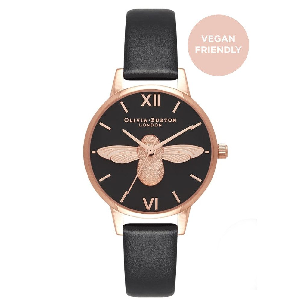 Vegan Friendly Midi 3D Bee Watch - Black & Rose Gold