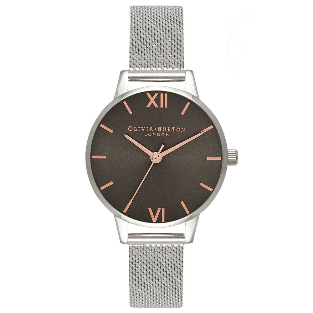 Midi Grey Dial Dark Grey Mesh Watch - Silver