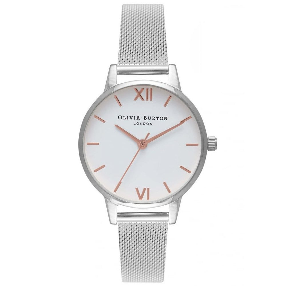 Midi White Dial Mesh Watch - Silver & Rose Gold