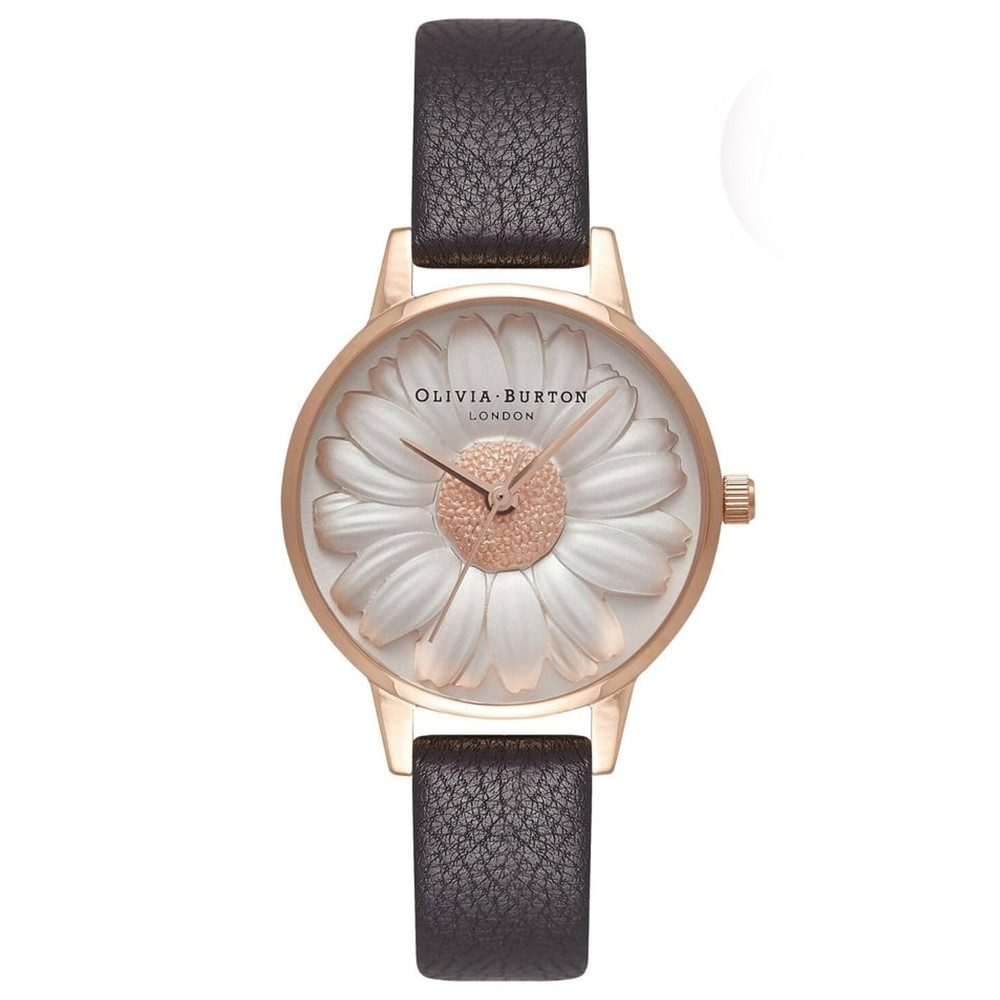 Flower Show 3D Daisy Watch - Black & Rose Gold