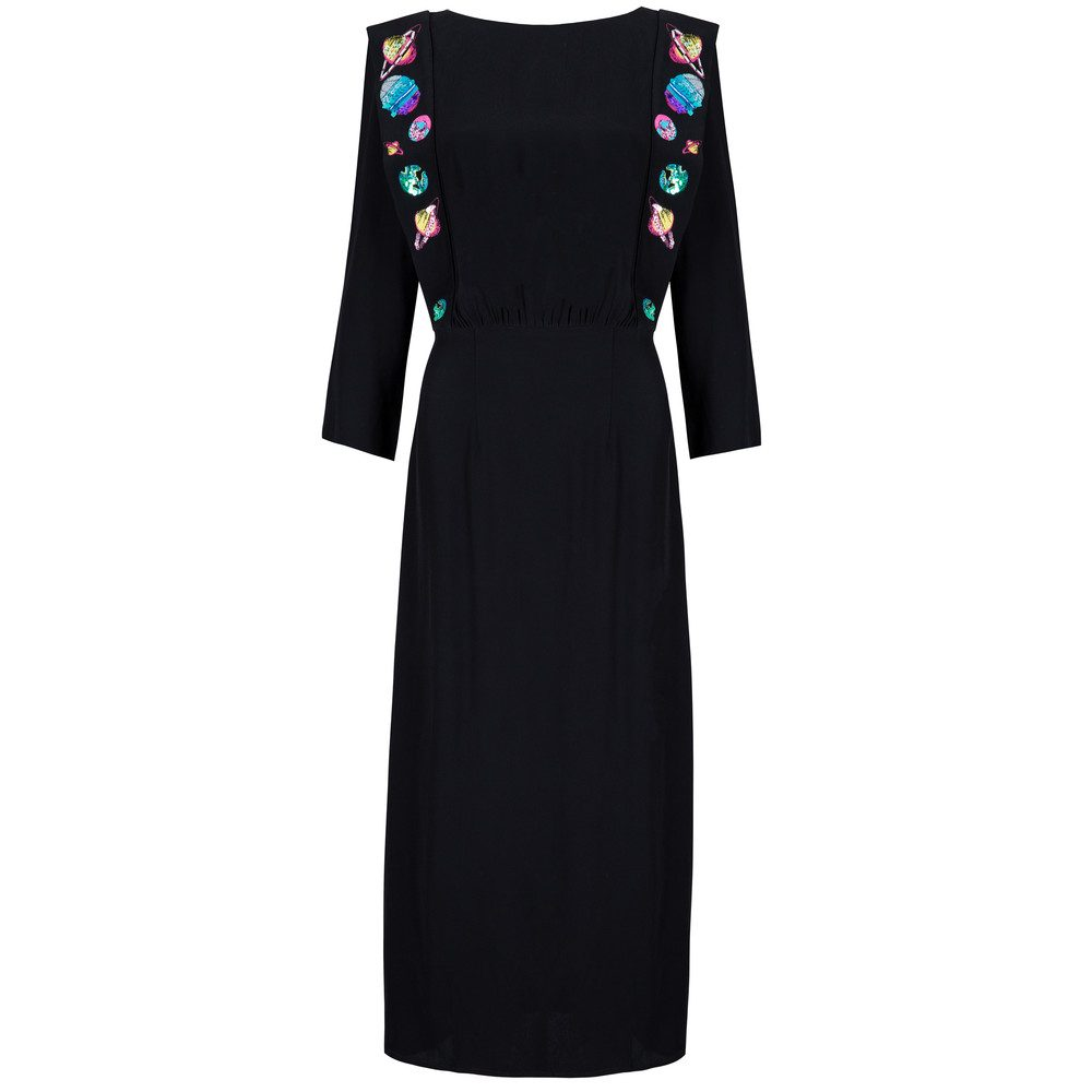 Elizabeth Embroidery Dress - Black