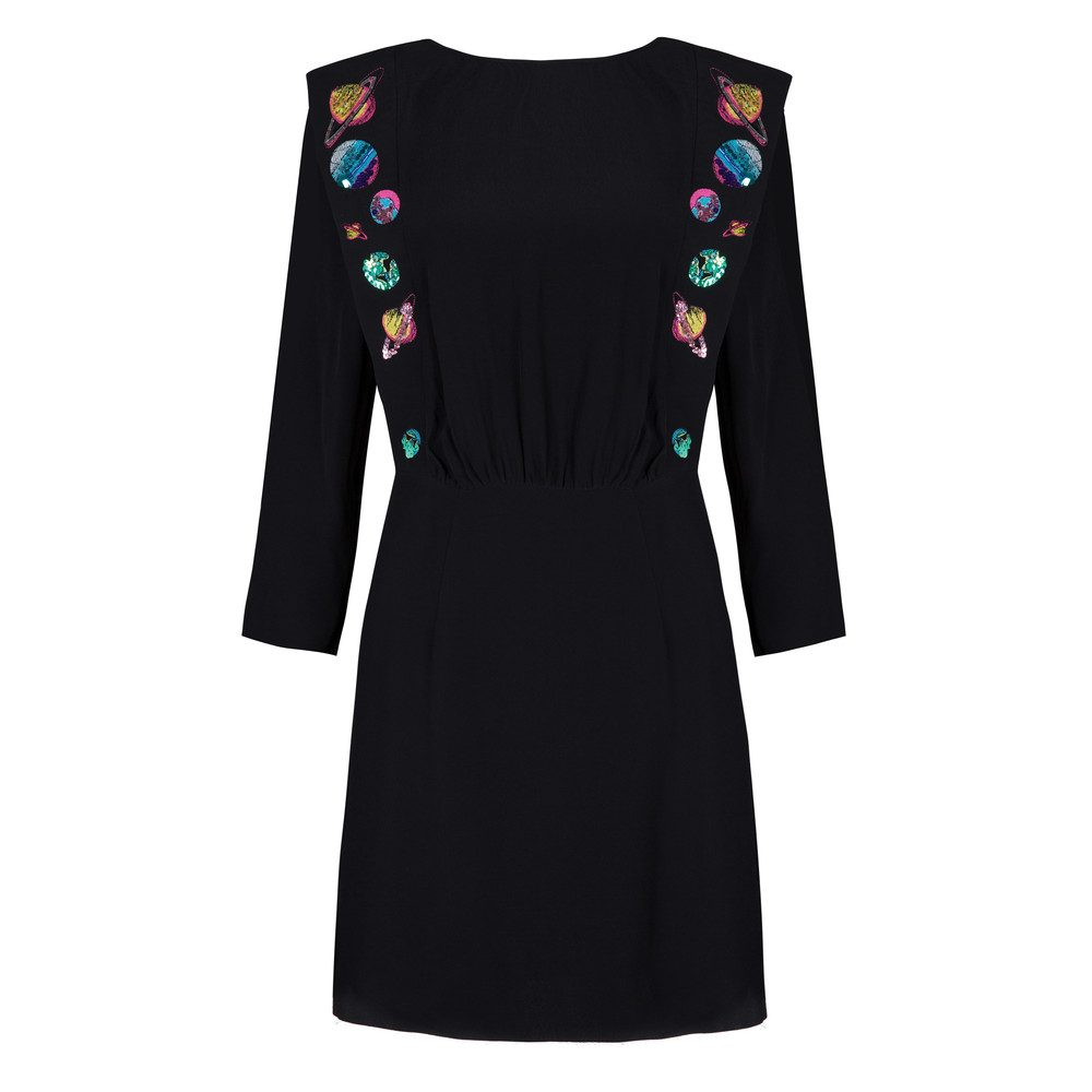Beth Embroidery Dress - Black