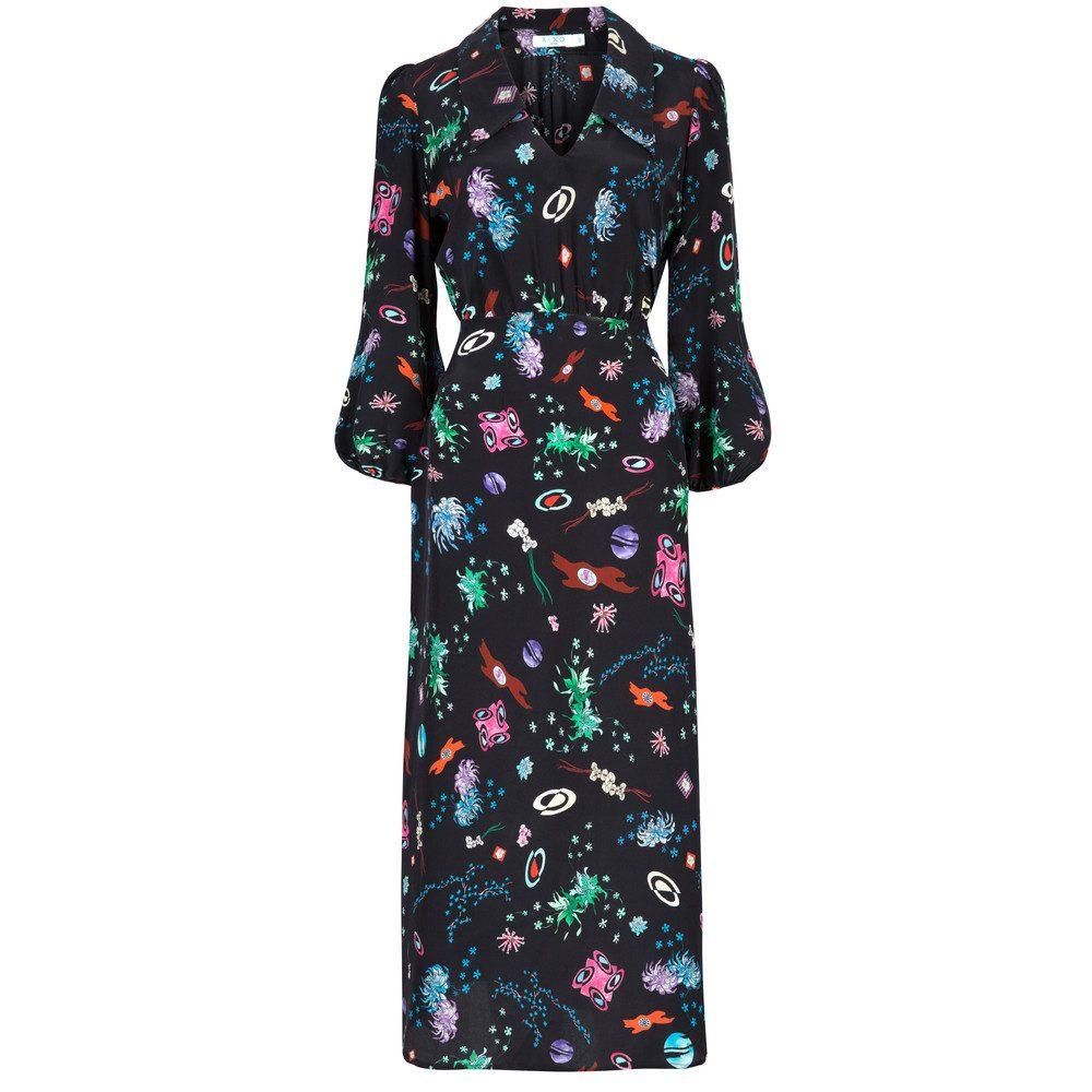 Faith Long Sleeve Midi Dress - Space Age Floral