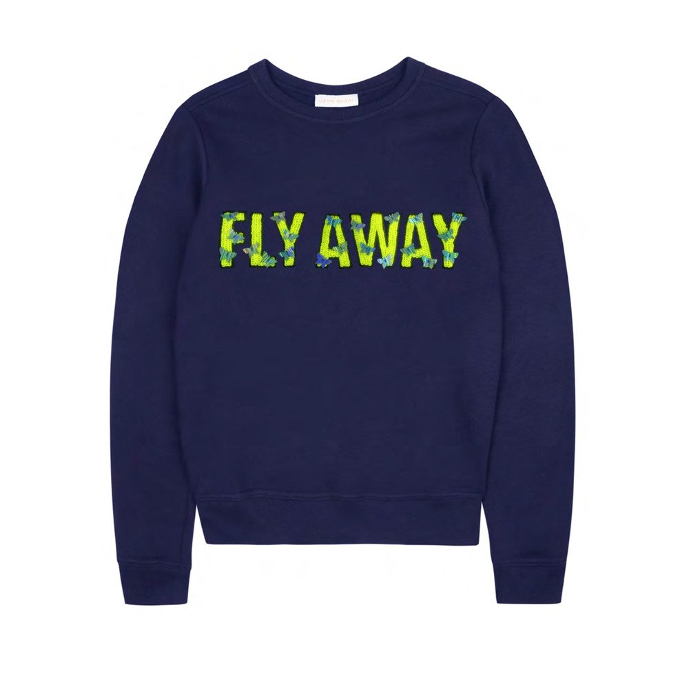 'Fly Away' Embellished Sweatshirt - Navy