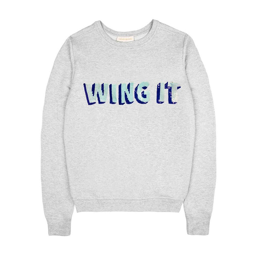 'Wing It' Embellished Sweatshirt - Grey Marl