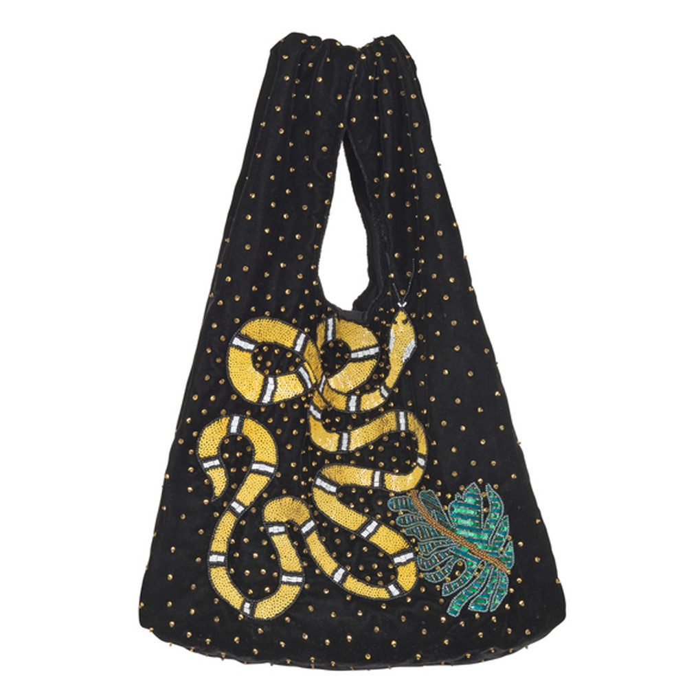 Ellia Snake Embellished Velvet Bag - Black