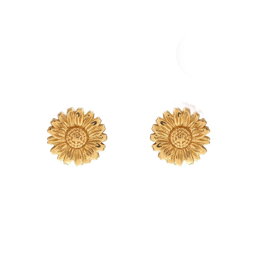 3D Daisy Stud Earrings - Gold