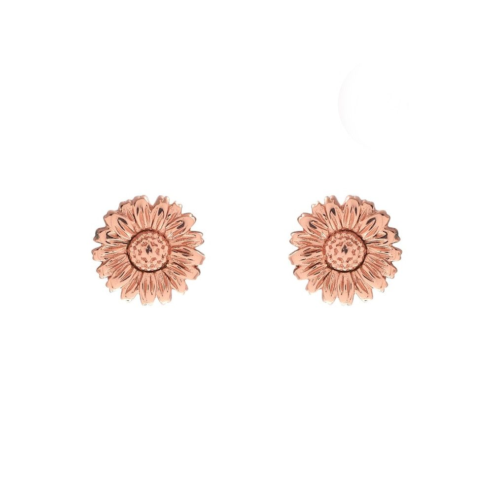 3D Daisy Stud Earrings - Rose Gold