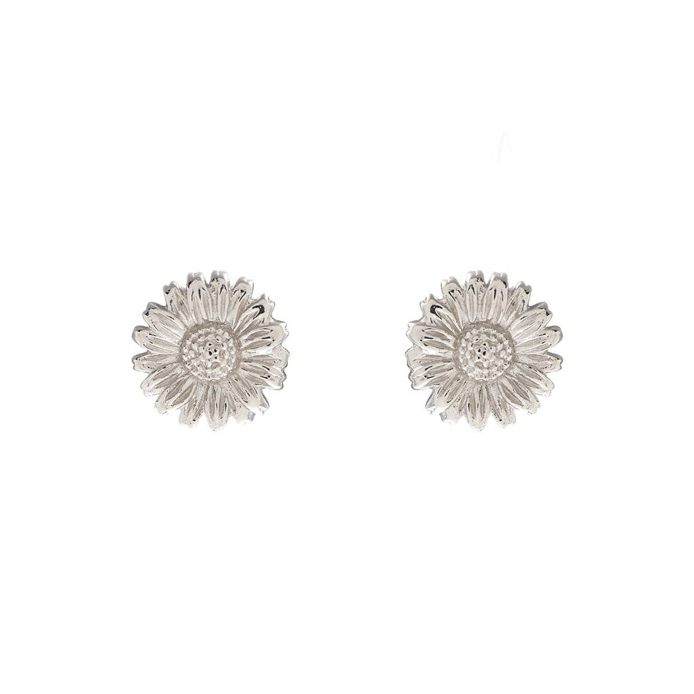 3D Daisy Stud Earrings - Silver