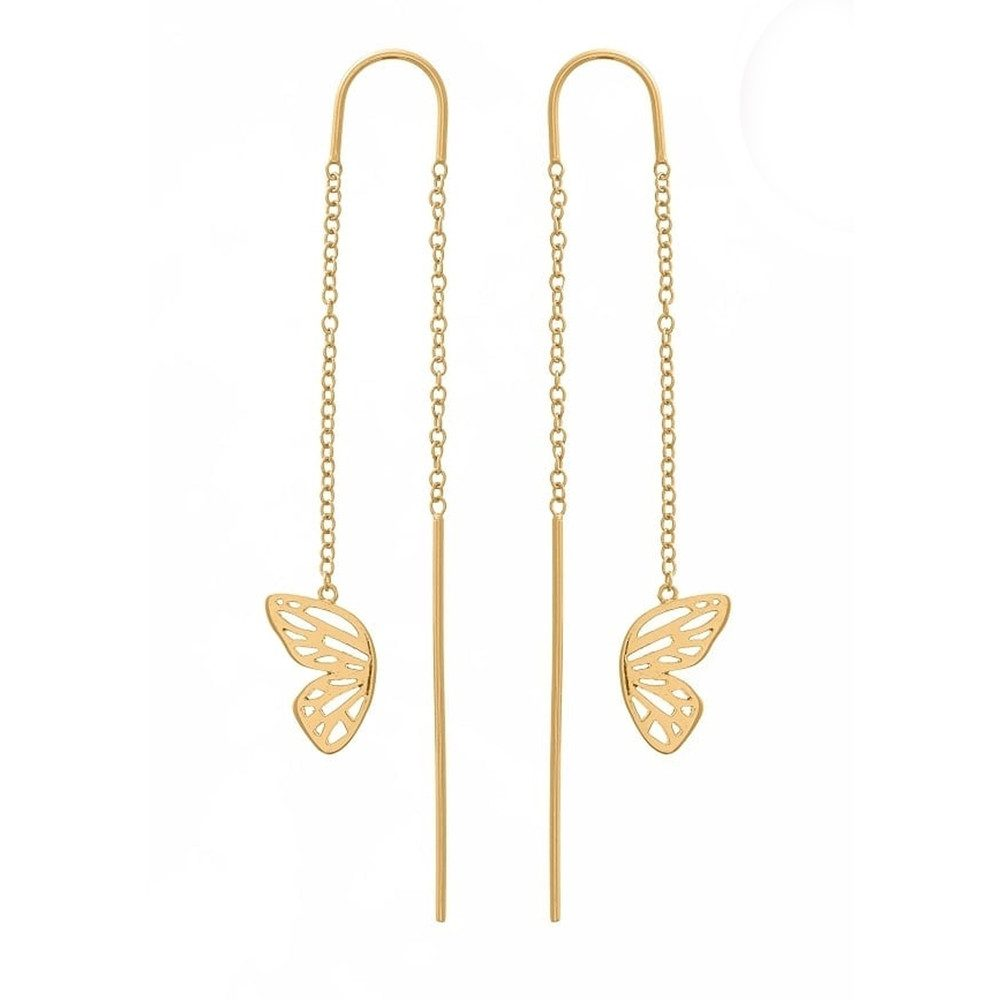 Butterfly Wing Chain Drop Earrings - Gold