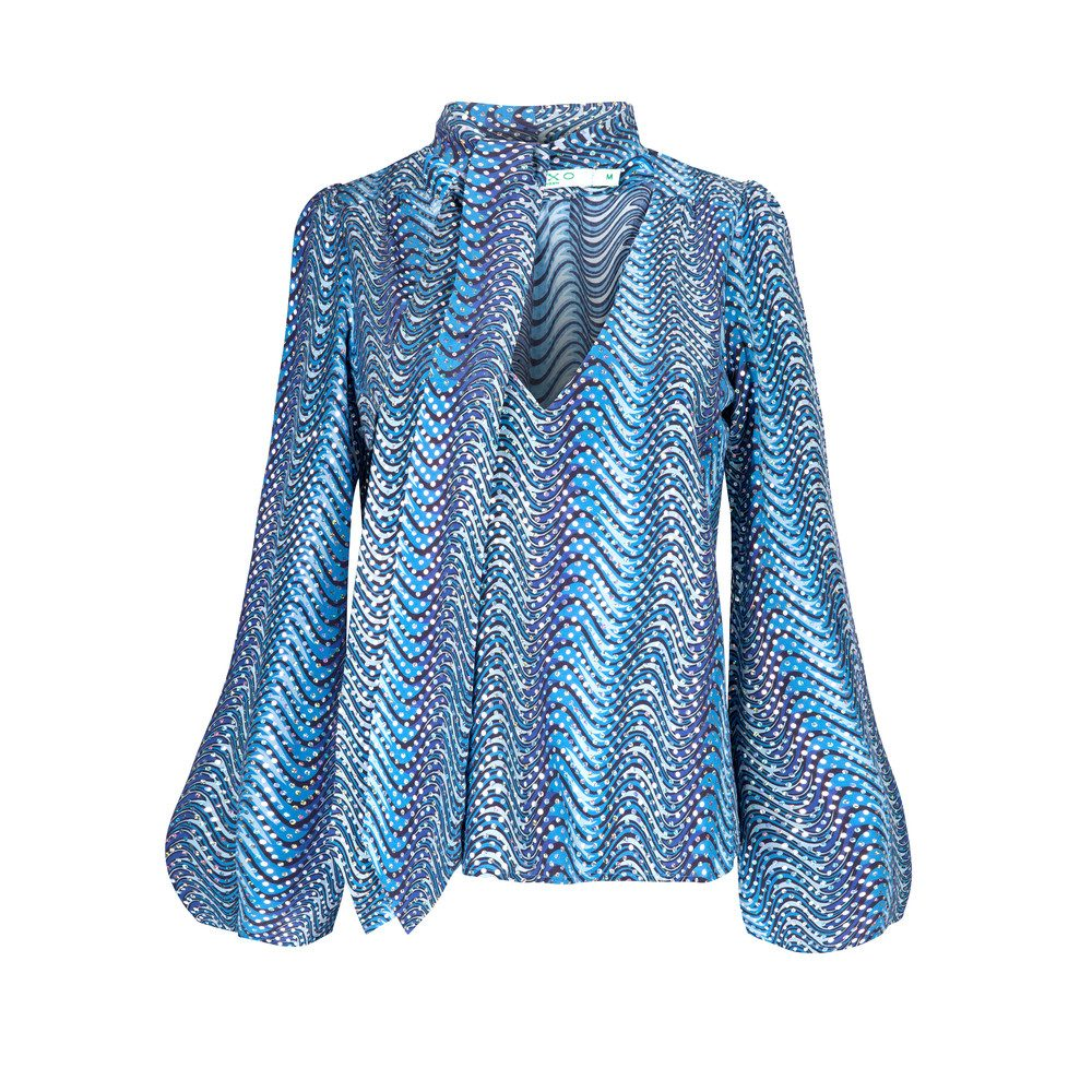 Kate Silk Blouse - Blue Psych Wave