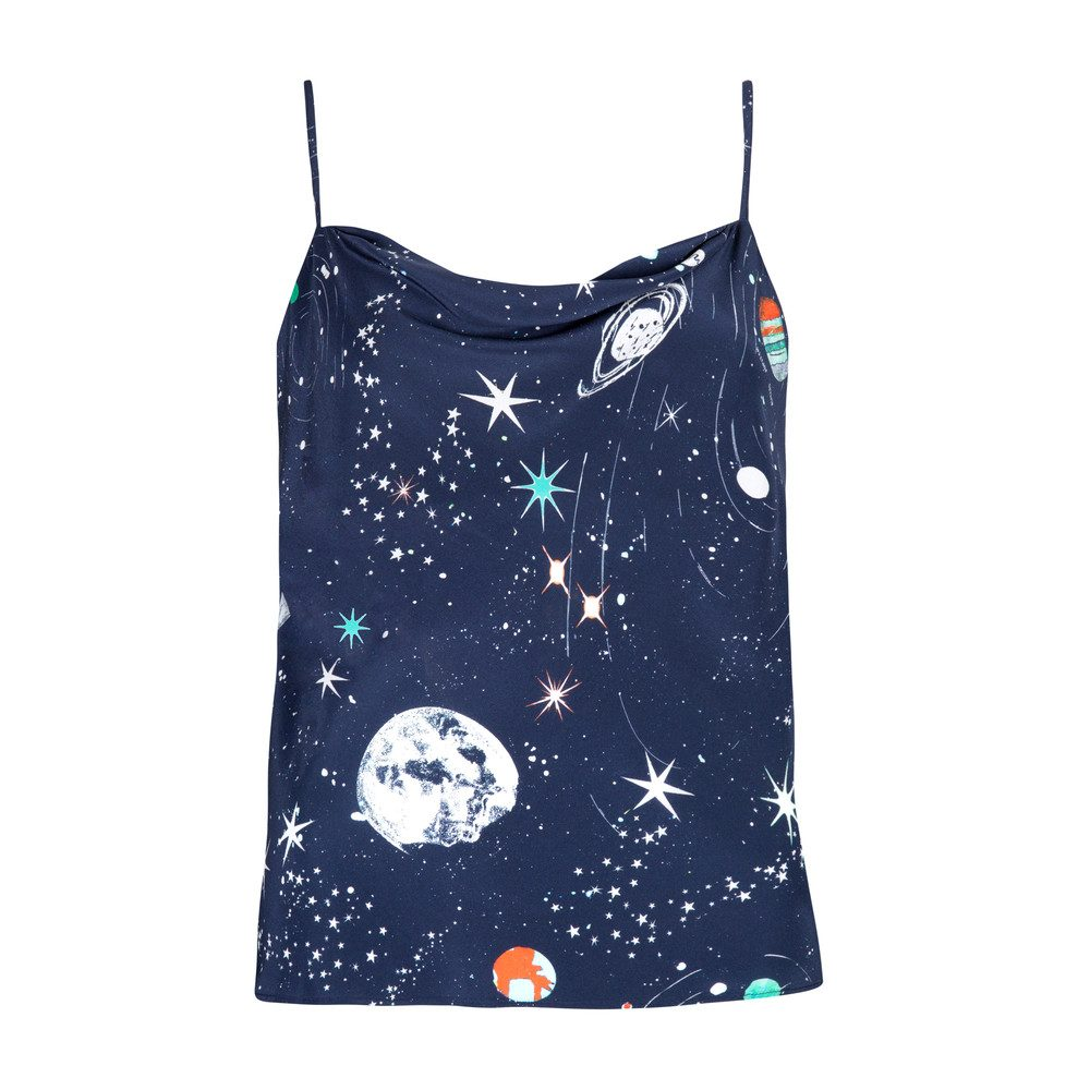 Jill Silk Cami Top - Cosmic Constellation