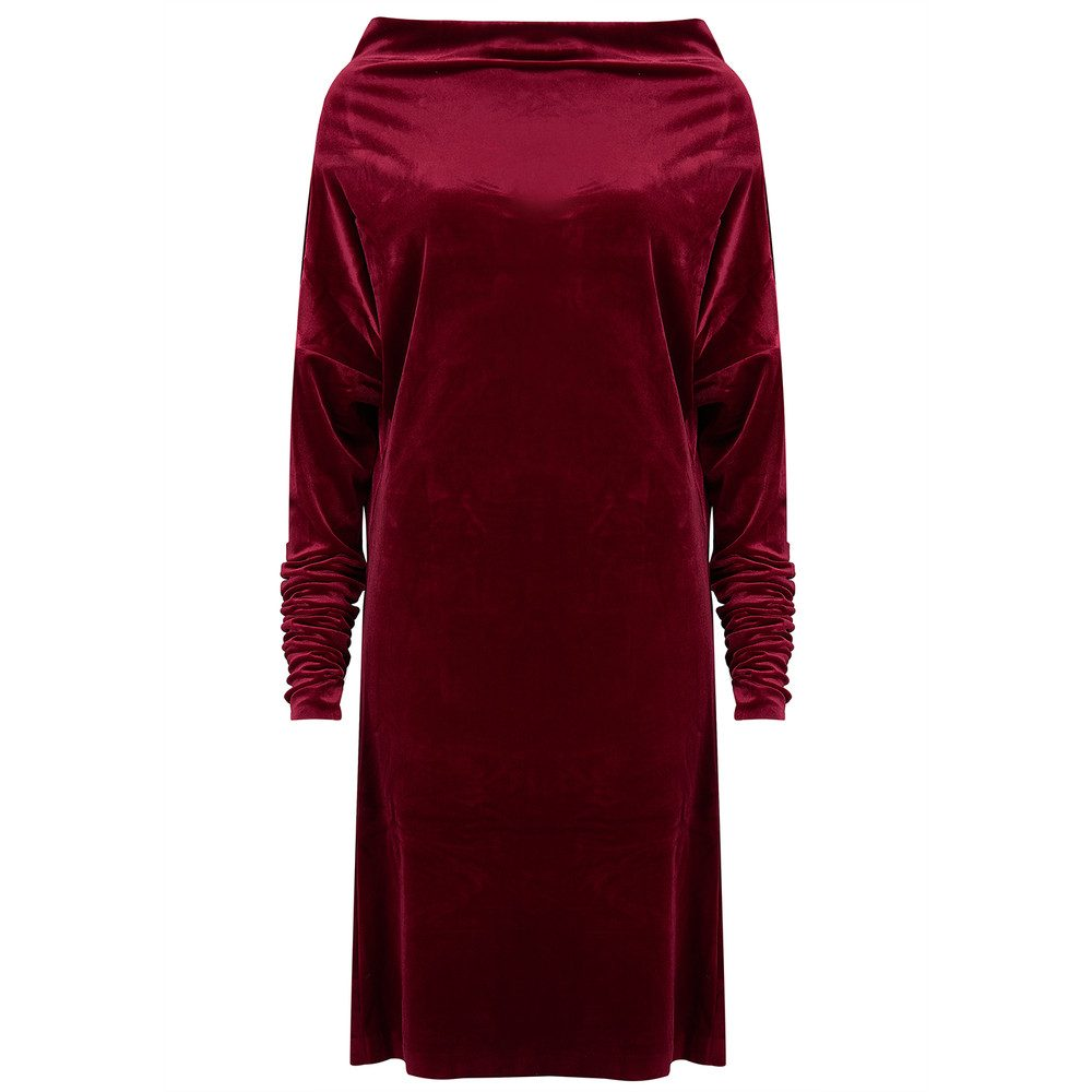 All in One Velvet Dress - Burgundy