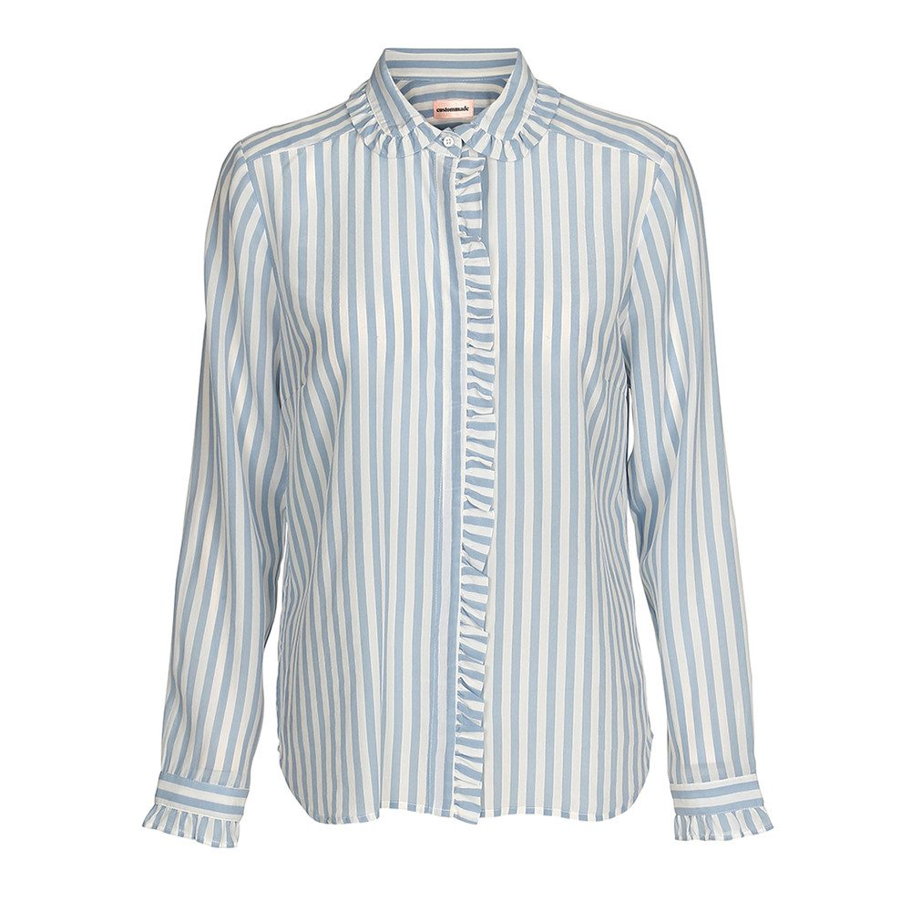 Aika Striped Silk Shirt - Dusty Blue