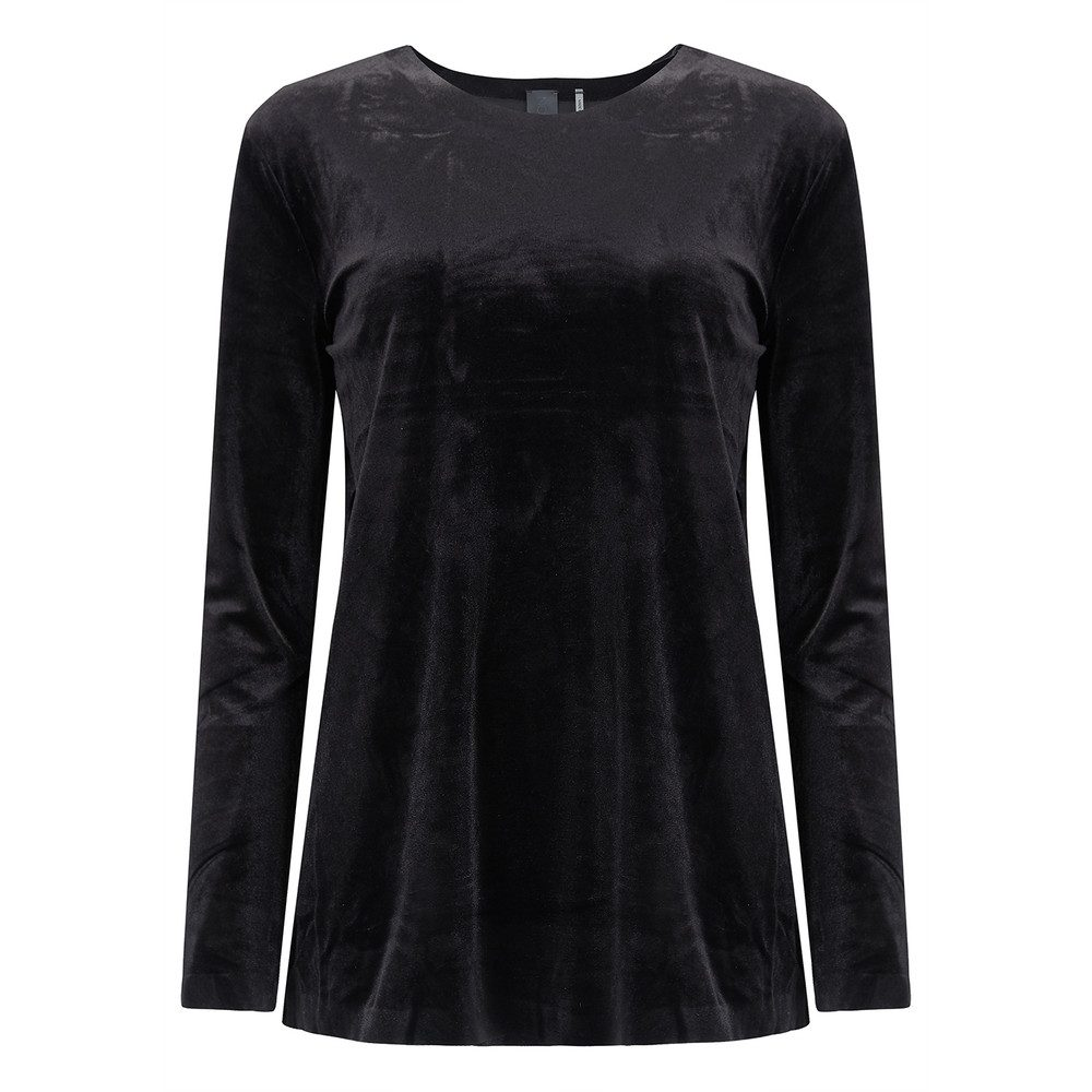 Tara Long Sleeve Velvet Top - Black