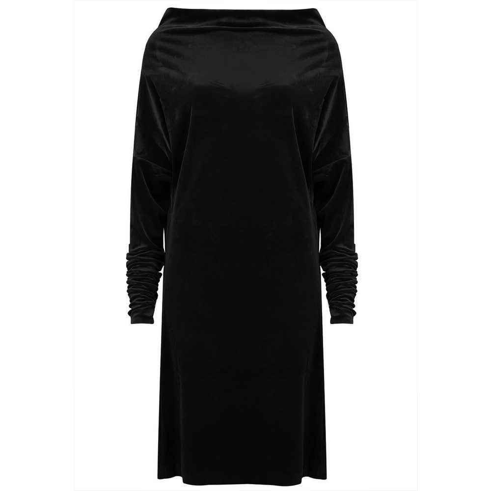 All in One Velvet Dress - Black