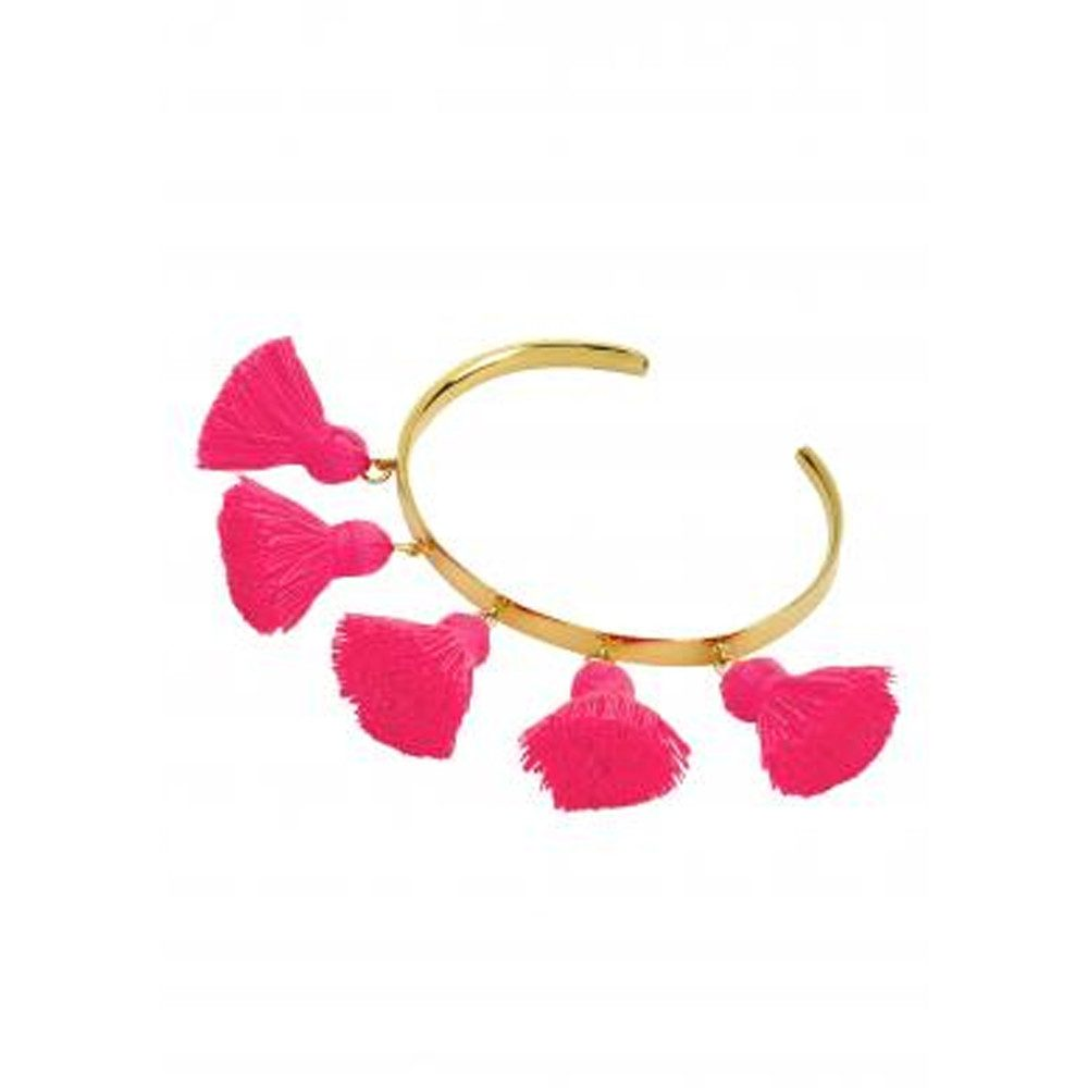 Raquel Tassel Bangle - Hot Pink