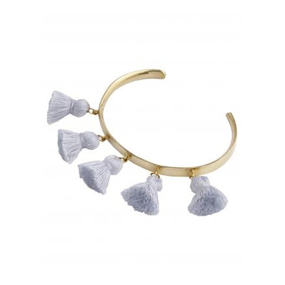 Raquel Tassel Bangle - Light Grey