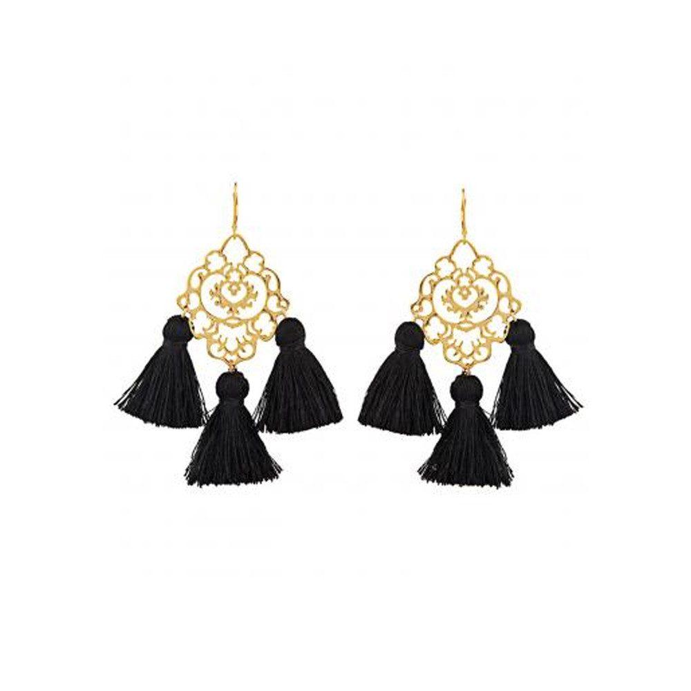 Rita Tassel Earrings - Black