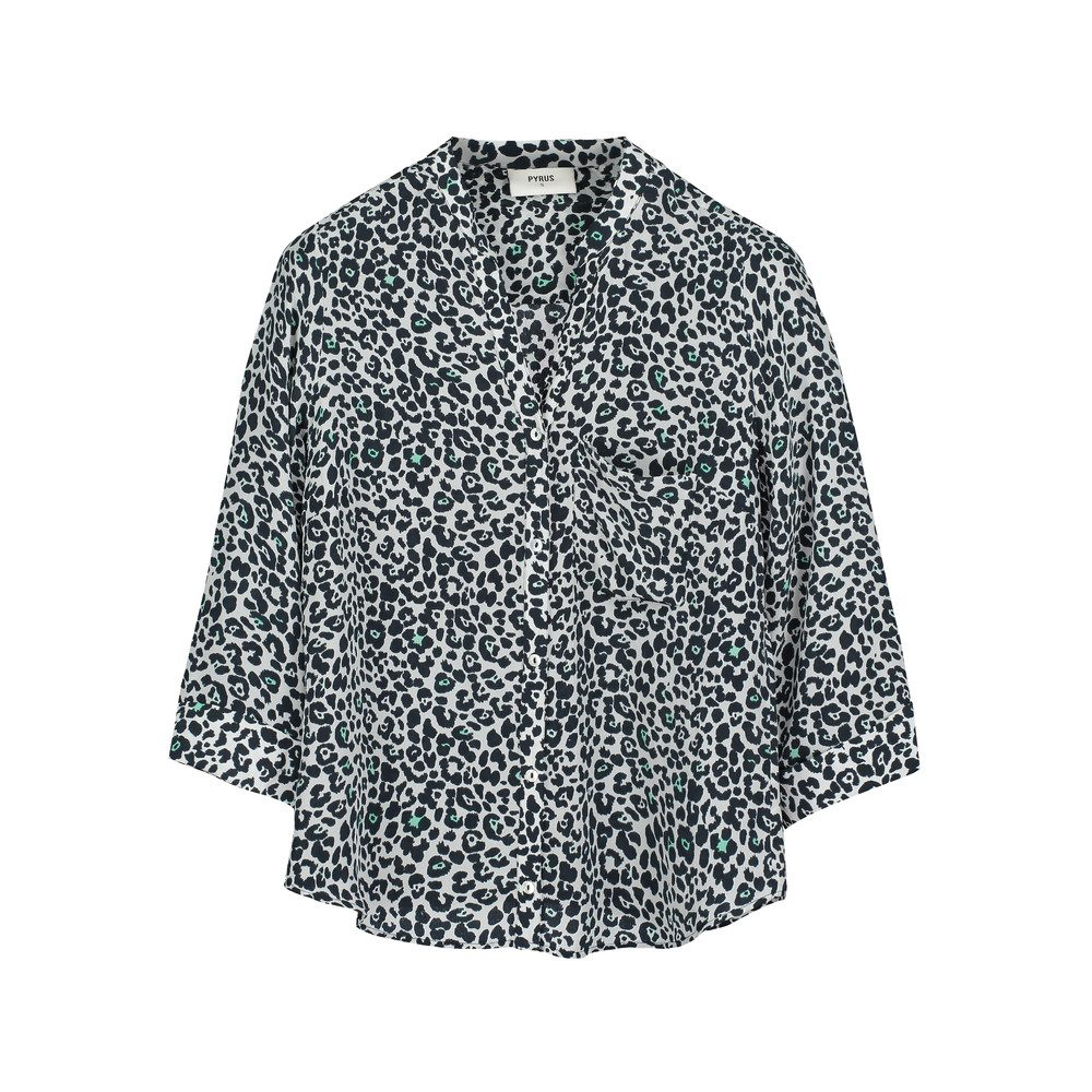 Hive Silk Animal Print Blouse - Mint & Black