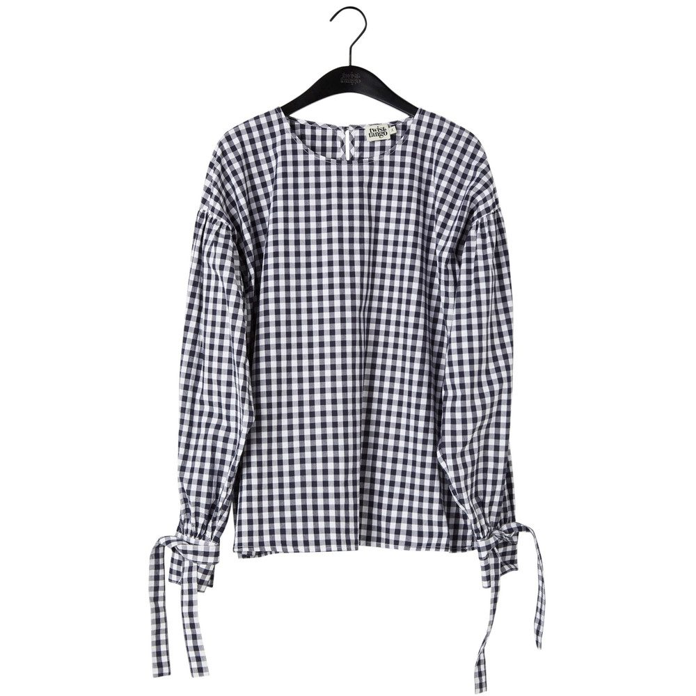 Stephanie Cotton Blouse - Navy Check