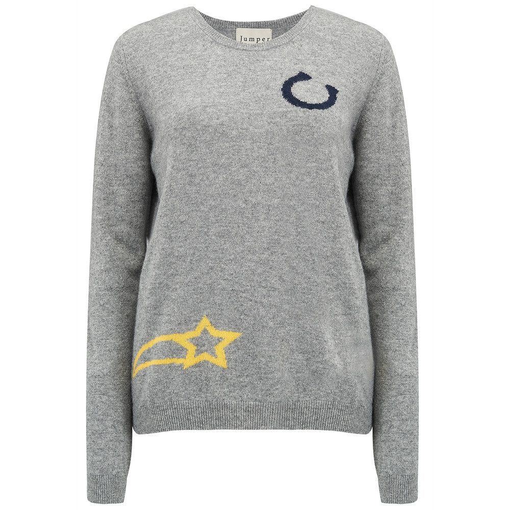 Charm Crew Cashmere Jumper - Mid Grey
