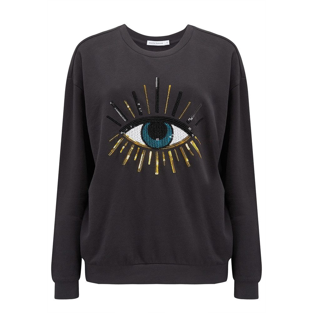 Alexa Evil Eye Sweatshirt - Smoke Black