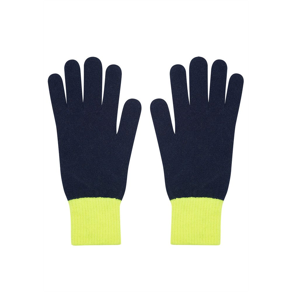 Tipped Cashmere Gloves - Navy & Neon Yellow