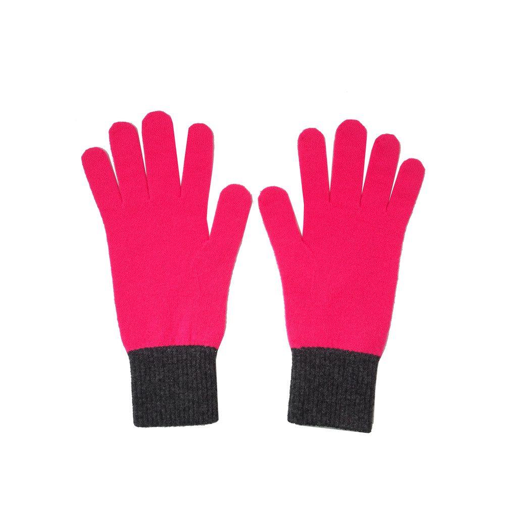 Tipped Cashmere Gloves - Neon Pink & Dark Grey