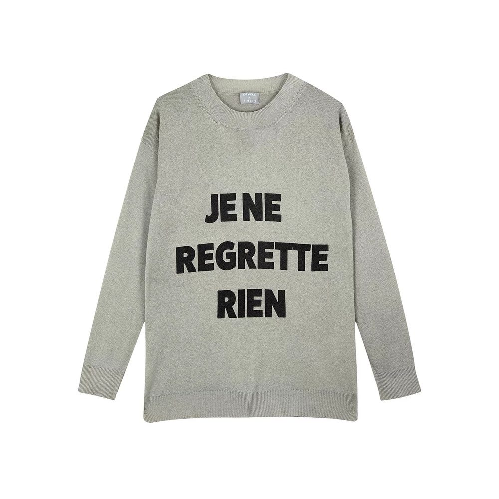 Slogan Cashmere Mix Sweater - Grey