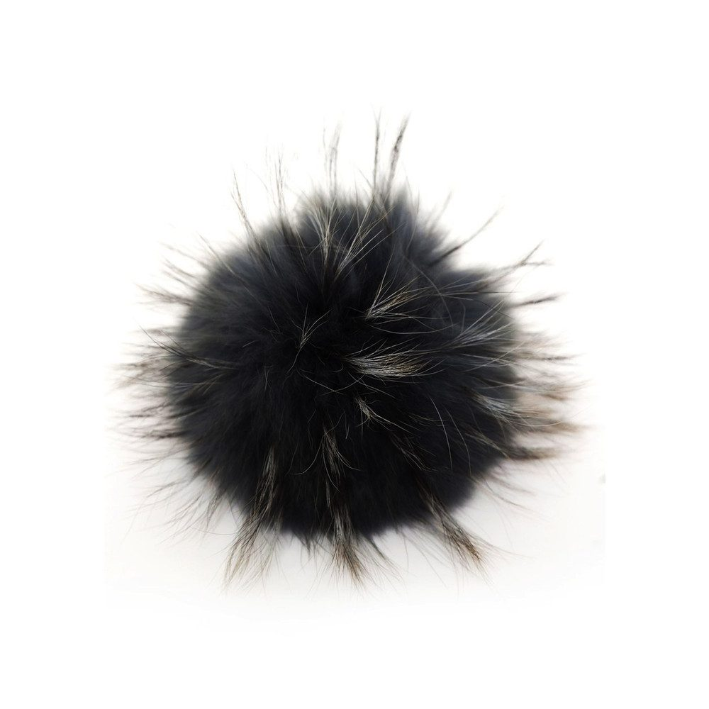 Big Faux Fur Bobbl - Silver Black