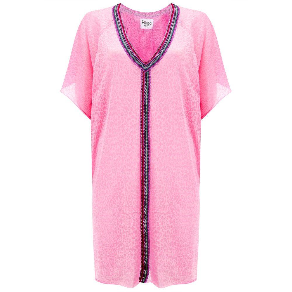 Mini Cheetah Abaya Dress - Light Pink