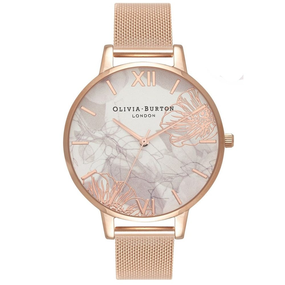 Abstract Floral Big Dial Mesh Watch - Rose Gold