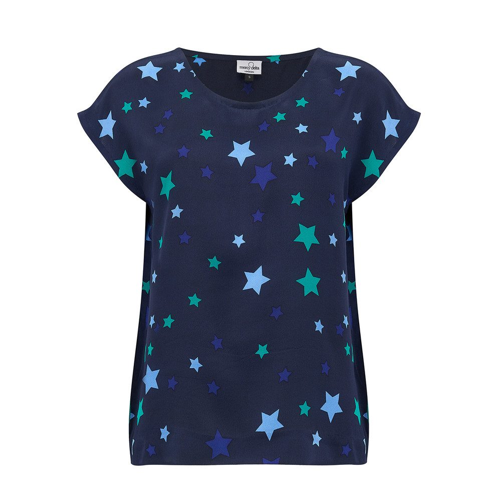 Blair Stars Silk Top - Sapphire
