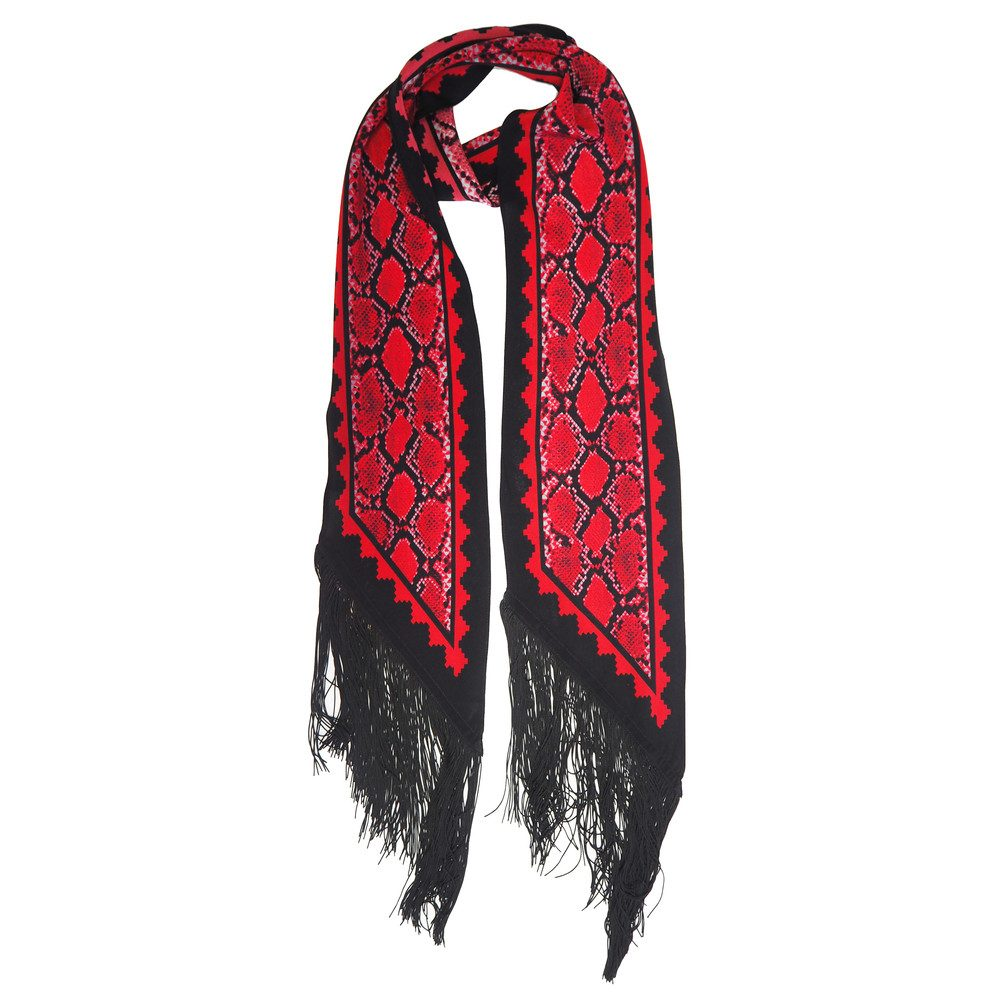 Classic Skinny Fringed Scarf - Red Snake Skin