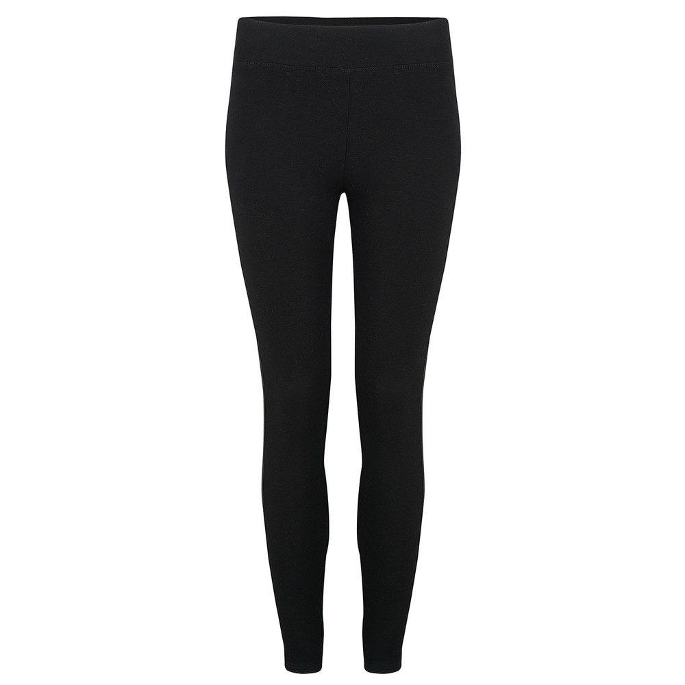 Faux Leather Block Yoga Pants - Black