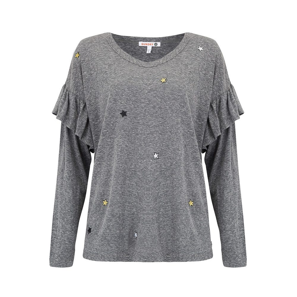Star Patches Long Sleeve Ruffle Top - Heather Grey