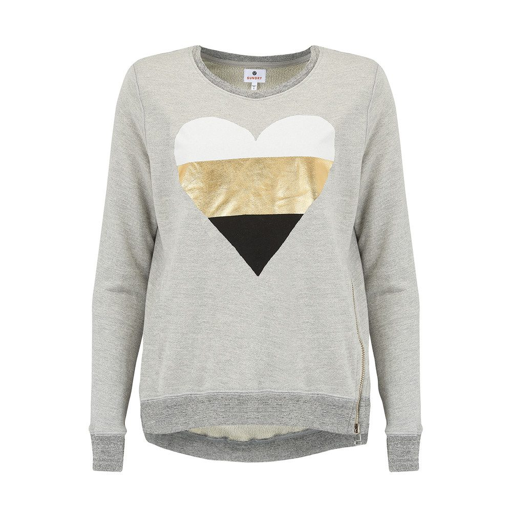 Heart Zip Sweatshirt - Heather Grey